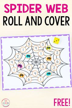 Try this fun spider roll and cover math game for a fun way to learn numbers, counting, subtilizing and addition. It's perfect for spider math centers! kindergarten Spider Roll and Cover Math Game Halloween Math, Theme Halloween, Halloween Activities, Preschool Activities, Number Activities, Preschool Curriculum, Educational Activities, Halloween Crafts, Homeschooling