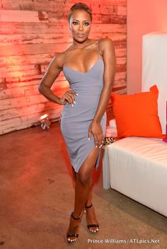 00 Eva Marcille's Born Again Virgin Screening House of CB Raqa Gray Asymmetric Cut Bralet Spaghetti Strap Dress