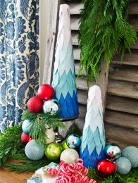 Christmas in July Crafts!  How to Make Ombre Tabletop Christmas Trees and lots of other craft ideas
