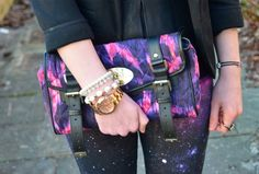 Galaxy Print Jeans & Faux Leather Peplum oo