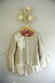 Women's linen tunic, boho chic top, romantic Stevie nicks style, crochet, altered couture clothing, gypsy cowgirl, true rebel clothing. $78.00, via Etsy.