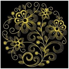 Golden Rippled Flowers 7 - 3 Sizes! | Floral - Flowers | Machine Embroidery Designs | SWAKembroidery.com Ace Points Embroidery