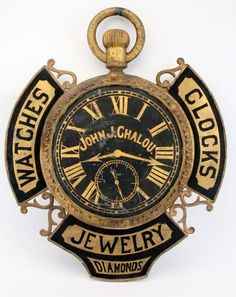 Elaborate watchmaker's trade sign of cast and sheet metal, 32 inches tall by 26 inches wide, Old Clocks, Antique Clocks, Antique Toys, Advertising Signs, Vintage Advertisements, Vintage Ads, Vintage Type, Antique Signs, Vintage Signs