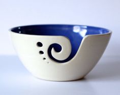 Blue Ceramic Yarn Bowl Yarn Bowl Knitting Bowl by andersenpottery