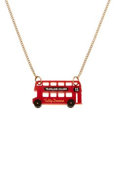 London Bus Necklace - Tatty Devine S- East London residents unite! This necklace represents London's Number 15 bus - an iconic Routemaster journey taking you from Tower Hill (Tower of London/Tower Bridge) through the City to reach your destination, Trafalgar Square.