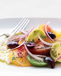 Greek Salad with Feta Mousse | Gavin Kaysen's Greek salad has most of the usual ingredients, like tomatoes and olives—but, in an inspired twist, he turns the traditional feta cheese into a creamy, light feta mousse.
