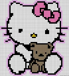 Free Hello Kitty with Teddy Hama Perler Bead Pattern or Cross Stitch Chart