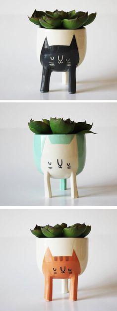 tiny #ceramic planters   Cat planters by Beardbangs //  playful planters
