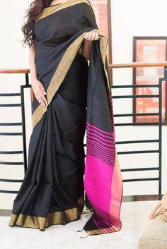 Black pure south raw silk saree
