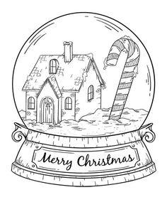 Snowglobe Christmas card to print and color for adults Christmas Doodles, Christmas Drawing, Christmas Crafts For Kids, Christmas Colors, Christmas Art, Xmas, Globe Drawing, Bullet Journal Christmas, Christmas Coloring Sheets