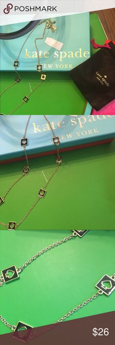 """NWT Kate Spade Hole Punch Long Station Necklace New with Tags and comes with Kate Spade dust bag. Approximately 30"""" in length. This listing is for the gold tone with black spades but please see my closet for the same necklace in yellow and in pink. Only one of each available at this time. Retail price is $78. kate spade Jewelry Necklaces"""