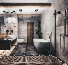 Bathroom Goals ♥👌 Tag friends 👥 Render by Are you looking for a support for your interior and and architectural visuals ? Contact us at email 📩 We would love to help you making your projects looking great ! Start tag be featured in our gallery ✔ Modern Bathroom Design, Bathroom Interior Design, Industrial Bathroom Design, Modern Bathtub, Industrial House, Modern Industrial, Bathroom Designs, Modern House Design, Industrial Furniture