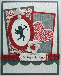 Cardstock: Basic Gray, Whisper White, Riding Hood Red  Stamp Set: P.S. I Love You - and P.S. You will be seeing a lot of this one!  Accessories: Big Shot, baby! Finial Press Embossing Folder, Textured Impressions Designer Frames, Tasteful Trim die-cut, Modern Label punch, Full Heart Punch, Heart to Heart Punch, Pleated Satin Ribbon, Large Pearls, Fleurettes, White Taffeta Ribbon