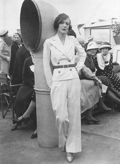 1932 sailor boat nautical looks vintage fashion style white pantsuit double breasted jacket wide leg trouser beach pajamas belt hat shoes women early 30s photo print
