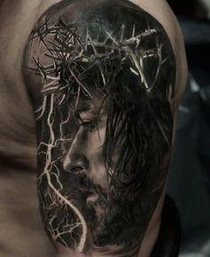Tattoodo - Beautiful Black and Gray Jesus Lightning Tattoo - Jesus Tattoo Design, Tattoo Lettering Design, Trendy Tattoos, Tattoos For Guys, Jesus Tattoo Sleeve, Tattoo Sleeves, Lightning Tattoo, Heaven Tattoos, Christ Tattoo