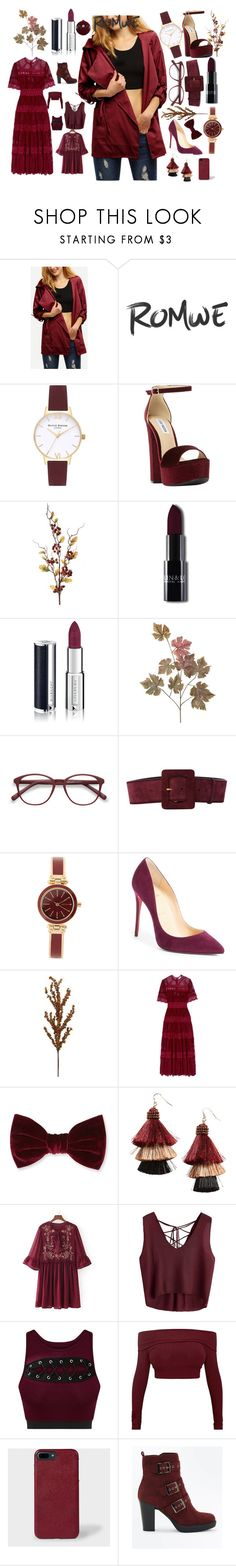 """BURGUDY"" by chyncast ❤ liked on Polyvore featuring Topshop, Steve Madden, Givenchy, EyeBuyDirect.com, Yves Saint Laurent, Anne Klein, Christian Louboutin, Zimmermann, Forever 21 and Panacea"
