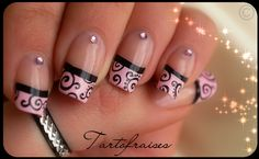 Black and pink french tips