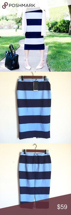 "Zara blue Striped midi skirt New with tags - recently found one my size , this one has been sitting in my closet unworn , does stretch considerably so it may fit a size large - waist measures 15"" across  29"" long Zara Skirts"