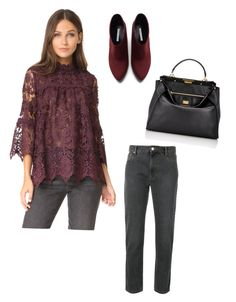"""Burgundy Lace"" by dborotea on Polyvore featuring Anna Sui, Zara, Fendi and Isabel Marant"