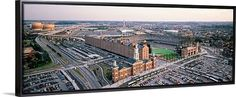 Canvas with Floating Frame entitled Aerial view of a baseball field, Baltimore, Maryland, Black
