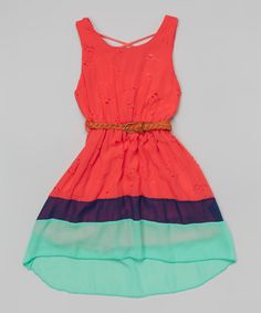 Look at this Coral Floral Color Block Belted Hi-Low Dress - Girls on #zulily today!