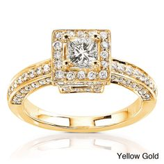 Annello by Kobelli 14k Gold 1ct TDW Diamond Princess Halo Engagement Ring (H-I, I1-I2) (