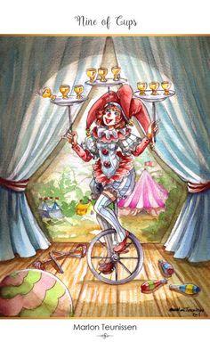 Featured Card of the Day – 9 of Cups – 78 Tarot Carnival ~ Cirque du Tarot Tarot By Cecelia, Ace Of Pentacles, The Hierophant, Online Tarot, Affirmation Cards, Tarot Readers, Epic Art, International Artist, Global Art