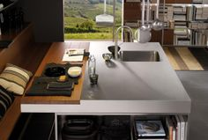 Awesome Arclinea Kitchen Island Design with Stainless Steel Countertop Sink, Cool Integrated Wood Top Split Table Dinin. Kitchen Island With Sink And Dishwasher, Modern Kitchen Island, Kitchen Tops, Kitchen Decor, Kitchen Ideas, Modern Sink, Kitchen Designs Photos, Best Kitchen Designs, Contemporary Kitchen Design