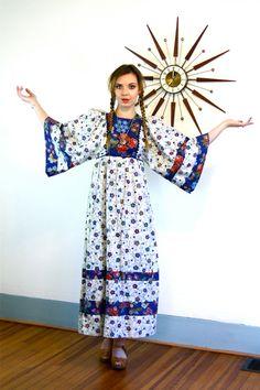 Vintage 70s Boho Hippie Maxi Dress Blue by PosiesForLuluVintage