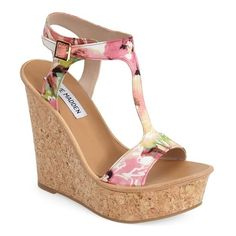 "Steve Madden 'ILuvIt' T-Strap Wedge Sandal, 5"" heel ($54) ❤ liked on Polyvore featuring shoes, sandals, chaussures, heels, wedges, wedges shoes, summer sandals, cork wedge sandals, ankle strap sandals and wedge sandals"