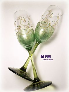 Green Gold Champagne Toasting Flutes. St. Patrick's by MPMArtWorld