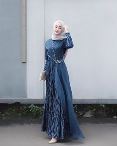 Image may contain: 1 person, standing Dress Brokat Muslim, Dress Brokat Modern, Kebaya Modern Dress, Muslim Dress, Hijab Dress Party, Hijab Style Dress, Dress Outfits, Fashion Outfits, Dresses
