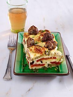 Low Carb Abendessen: 15 schlanke Rezepte  Auberginen-Joghurt-Auflauf mit Hackbällchen