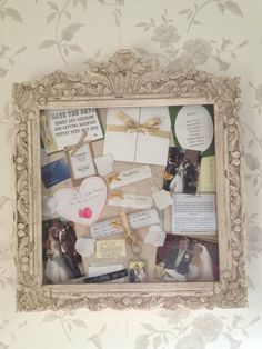 box frame with wedding memories invitations dress label tiara label diamantes from