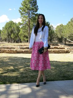 Pink midi skirt on Belle & Grace