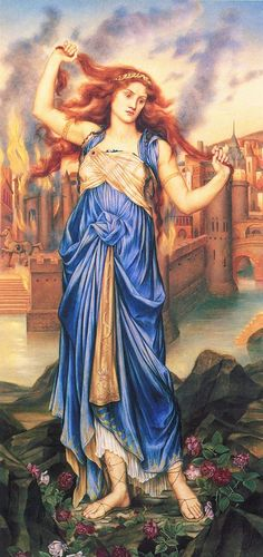Cassandra by Evelyn De Morgan (1898, London); Cassandra in front of the burning city of Troy at the peak of her insanity.