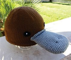 Platypus Handmade Hat with Duck Bill  Semi  Aquatic by littlepopos