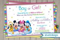 Boy or Girl? Mickey and Friends Baby Shower invitation- Neutral Baby Shower Invite