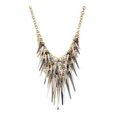 Gold tone necklace chain and mesh frontal with mixed metal shaky spikes.