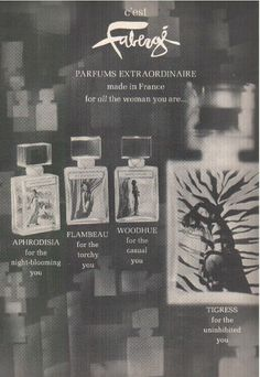 "Faberge ""Parfums Extraordinaire"" - Aphrodisia, Flambeau, Woodhue and Tigress"