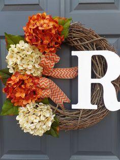fall wreath monogram wreath grapevine wreath by Celestialwreaths