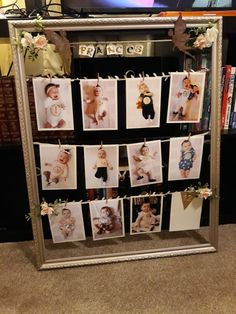 12 months of pictures streamed on a wooden frame. 12 Month Pictures, Picture Banner, Wooden Frames, 12 Months, Baby, Ideas, Home Decor, French Tips, Banner Stands