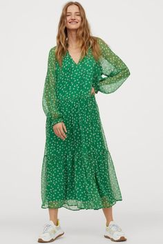 Calf-length dress in airy, patterned chiffon with an opening at the top and frilled collar with ties at the front. Long, raglan balloon sleeves with elastic Balloon Dress, Calf Length Dress, Petite Outfits, Petite Fashion, Spring Dresses, Fashion Company, Stylish Dresses, Dress Codes, Affordable Fashion