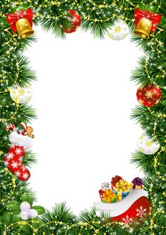 Christmas Photo Frame with Christmas Ornaments   Gallery Yopriceville - High-Quality Images and Transparent PNG Free Clipart