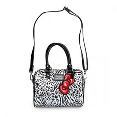 Hello Kitty Black and White Leopard Embossed Mini City Bag