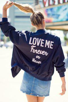 A'GACI   Love Me Text Bomber Jacket   #SoExclusive