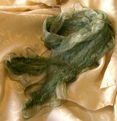 Nuno Felted Ruffled Silk Scarf   Wet Felting Kit  by alisonnorman, £15.00