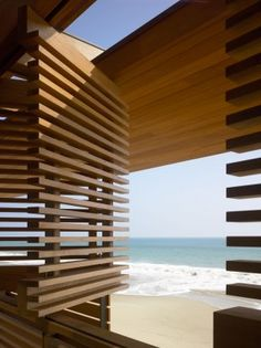 Section of teak louver, Richard Meier, Malibu