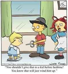 Don't wind the kid up! | Break of Day on GoComics.com #humor #comics