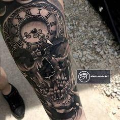 83 hình xăm đồng hồ đẹp đẳng cấp cho nam giới ở cánh tay, vai, chân
